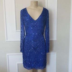 Jovani long sleeve silk beaded cocktail dress